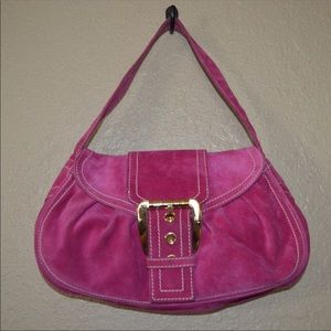 Celine Fuchsia Pink Suede Gold Hardware Handbag